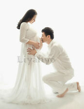 White Chiffon Maternity Gown Solid Maxi Dress Pregnant Photography Props S-XXL