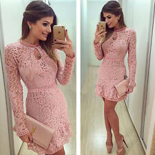 Women's Casual Lace Crochet Bodycon Evening Party Prom Cocktail Short Mini Dress