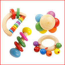 Newest Baby Child Wooden Musical Bell Handbell Rattle Education Instrument Toy