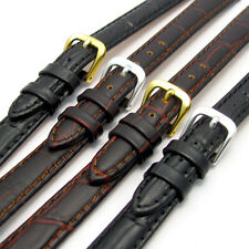 Ladies Padded Croc Grain Leather Watch Band Strap 12mm 14mm