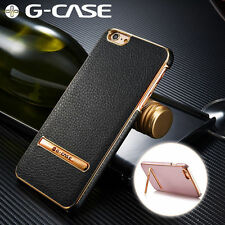 G-Case Plating Genuine Leather Cover Case With Metal Stand For iPhone 6S/6/Plus