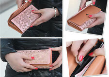 Stylish Girls Womens Hollow-out Pu Leather Purse Wallet Clutch Cash Coin Handbag