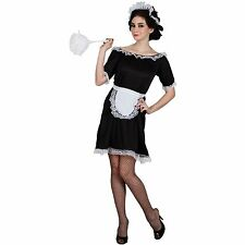 Adult Ladies Black And White Sexy French Maid Fancy Dress Costume XS S M L XL
