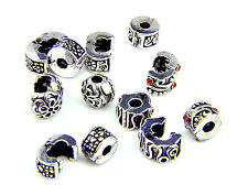 Oxidised Silver Whirlpool Stopper Charms Beads Lock Fit Snake Bracelet (2x lot)