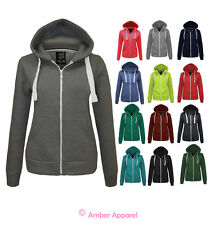 NEW LADIES PLAIN ZIP HOODIE SWEATSHIRT HOODED FLEECE JACKET SIZES 6-20