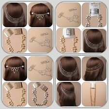 Hair Chains with Grips or Combs Wedding Prom Bridal Silver or Gold Crystal Tone