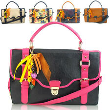 NEW WOMENS DESIGNER BOUTIQUE LEATHER LOOK SATCHEL BAG VINTAGE SHOULDER HANDBAG