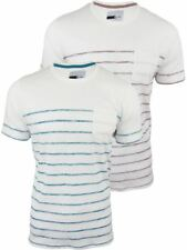 Mens D-Code Cotton Reverse Print Marl Striped T-Shirt Teal Or Pink