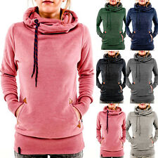 Women Pocket Hoody Hoodie Long Sleeve Hooded Sweatshirt Pullover Jumper Coat Top