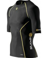 Skins A200 Mens Compression Short Sleeve Top (Black / Yellow)