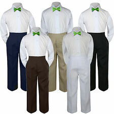 3pc Boys Baby Toddler Kids Lime Green Bow Tie Formal Shirt Pants Set Suit sz S-7