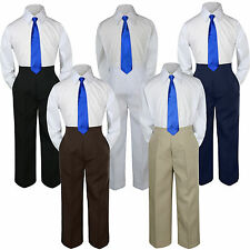 3pc Boys Baby Toddler Kids Royal Blue Necktie Formal Set Uniform School Suit S-7