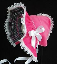 Pink Corduroy with Plaid Flannel Lining  Cold Weather Baby Bonnet