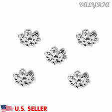 925 Sterling Silver Flower Beads Cap Connector Jewelry Making Findings 7.8mm Dia
