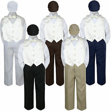 Boys Baby Toddler Kids Ivory Off White Vest Bow Tie Formal Set Suit Hat S-7