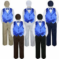 Boys Baby Toddler Kids Royal Blue Vest Bow Tie Formal Set Suit Hat S-7