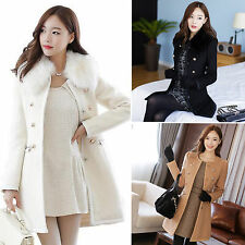 Women Slim Faux Fur Collar Trench Long Coat Double Breasted Winter Jacket Parka