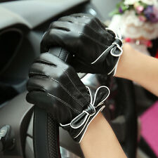 Women's Genuine Sheepskin Leather Driving Gloves Touch Screen Bowknot Silk Lined