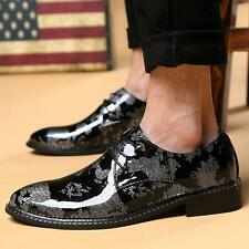 Mens Shiny Dress Shoes Strappy Pointed Toe Wing Tip Wedding Shoes Patent Leather