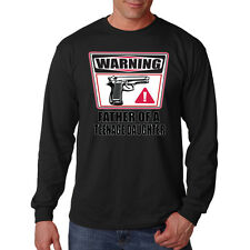 Warning Father Of A Teen Age Daughter Guns Funny Dad Long Sleeve T-Shirt Tee