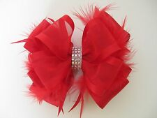 Christmas Holiday Red Feather Rhinestone Hair Bow Clip Barrette Headband