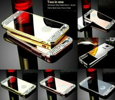 Diamond Crystal Mirror Case Cover + Metal Bumper Frame For Apple iPhone 6/6s