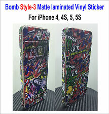 Bomb Matte laminated Vinyl Decal Skin Sticker Style-3 - For iPhone 4, 4S, 5, 5S