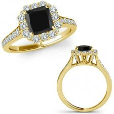 1.40 Carat Black Square Princess Diamond Fancy Cluster Halo Ring 14K Yellow Gold