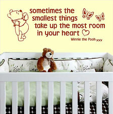 Sometimes The Smallest Things Nursery Wall Art Vinyl quote decal Winnie The Pooh