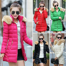 Winter Womens Fur Collar Hooded Down Cotton Padded Jacket Long Coat Trench Parka