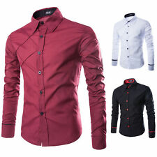 Mens Casual Shirts Slim Fit Luxury Long Sleeve Stylish Dress Shirts Solid Tops