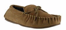 LodgeMok Mens Genuine Real Tan Suede Tartan Lined Moccasins Moccs Slippers