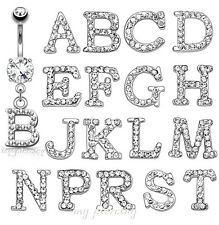 Initial Clear Gem Paved Dangle Navel Ring Letter 316L Surgical Steel 14G-3/8""