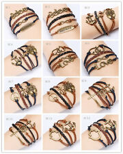 NEW Jewelry fashion Leather Cute Infinity Charm Bracelet Silver lots Style PickD