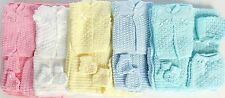 5 Pcs Knit Crochet Unisex Baby Set Blanket Pant Sweater Hat Booties Shiny Thread