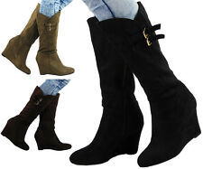 NEW WOMENS LADIES STRETCH MID HEEL CALF CASUAL FAUX SUEDE WEDGE BOOTS SHOES SIZE