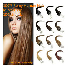 "16"" 18"" 20"" 22"" Micro Ring Loop Tip Remy Human Hair Extensions 100 strands"