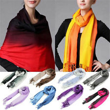 Women Tassels Long Wool Scarf Pashmina Stole Winter Gradient Color Shawl Wrap