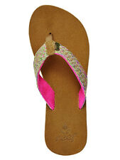 Womens Reef Gypsyhope Leather & Woven Jute Flip Flops Sandals - Pink