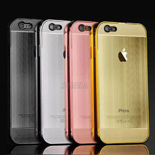 New Aluminum Metal Bumper Brushed Hard Back Case Cover For iPhone 5S SE 6S Plus