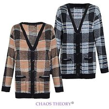 BRAVE SOUL KNIT BOYFRIEND KNITTED BUTTON UP STRIPE CABLE WOMENS LADIES CARDIGAN