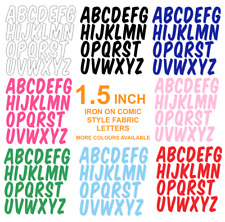 """FABRIC LETTERS! IRON ON! 1.5"""" Size, in 12 Colours! COMIC STYLE"""