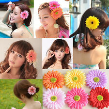 Boho Fabric Flower Hair Clip Grips Hawaiian Beach Accessory Wedding Bridal Party