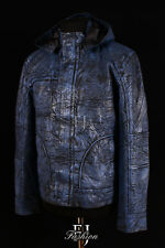GHOST PROTOCOL BLUE Mens Mission Impossible Hooded Movie Real Leather Jacket