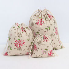 Draw String Cotton Linen Tea Candy Storage Gift Bag Organize Red Dandelion C14S