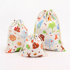 Tree Bunny Squirrel Draw String Cotton Linen Tea Candy Gift Storage Bag C15 S#