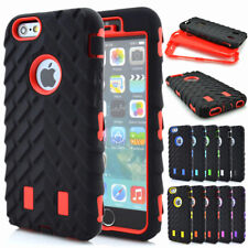 Rugged Tyre Soft Rubber Tough PC Heavy Duty Combo Case Shell For iPhone Series