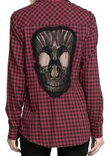 Fashion Casual Skull Womens Long Sleeve ShirtBlouse Loose Hollow Tops T Shirts
