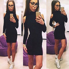 Women's Cold Cut Shoulder Polo Neck Stretched Bodycon Knitwear Jumper Mini Dress