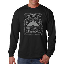 Chubbys Wild Old Fashioned Mustache Rides Funny Humor Long Sleeve T-Shirt Tee
